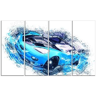 Designart – Voiture de sport bleu ciel et noire, toile de style galerie, 4 panneaux (PT2640-271)