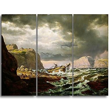 Designart – JC Dahl, épave sur la côte de la Norvège, imprimé sur toile (PT4569-3P)
