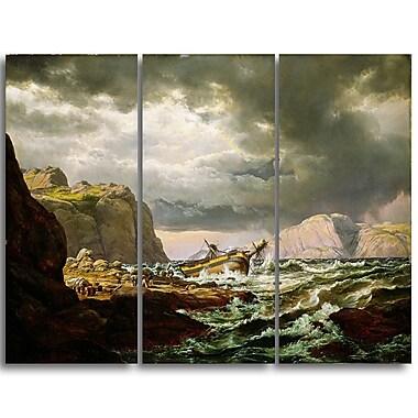 Designart JC Dahl, Shipwreck on the Coast of Norway Canvas Art Print, (PT4569-3P)