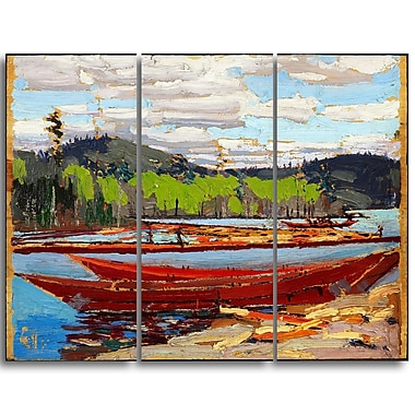 Designart Tom Thomson, Bateaux Canvas Art Print, (PT4974-3P)