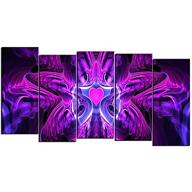 Designart Heart at the Center 5-Panel Purple Abstract Canvas Art Print, (PT3024-1084)