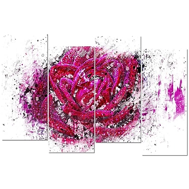 Designart Pink Rose 4-Panel Canvas Art Print, (PT3403-2-271)