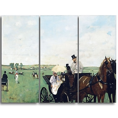 Designart Edgar Degas, At the Races in the Countryside Landscape Canvas Art Print, (PT4310-3P)