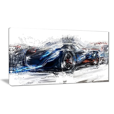 Designart Black Speedster Car Small Gallery Wrapped Canvas, (PT2623-32x16)