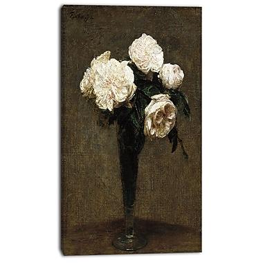 Designart – Henri Fantin Latour, Roses dans un vase imprimée sur toile, 3 panneaux (PT4492-16-32)