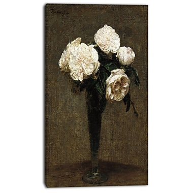 Designart Henri Fantin Latour, Roses in a Vase Canvas Art Print, 3 Panels, (PT4492-16-32)