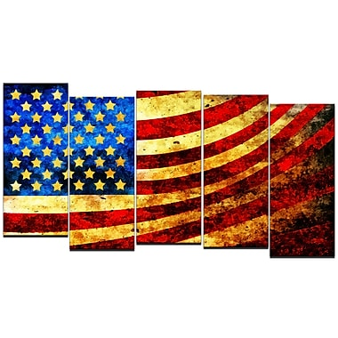 Designart God Bless America Flag 5-Panel Canvas Art Print, (PT3017-1084)