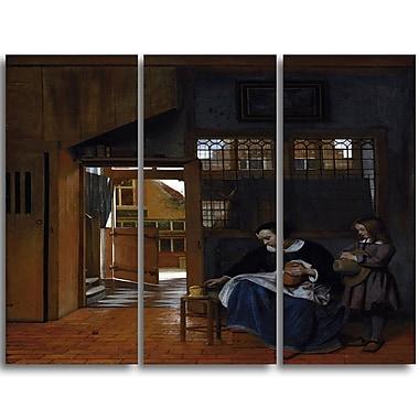 Designart – Toile imprimée de Pieter de hooch « Femme avec le pain et le beurre et un garçon » 4 panneaux (PT4867-3P)
