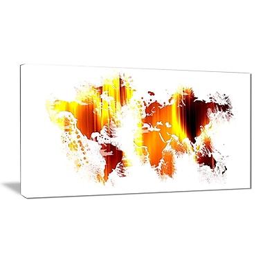 Designart Flame World Map Canvas Art Print, (PT2729-32-16)