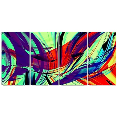 Designart Vinatge Lime Green Abstract Art 4-Panel Modern Canvas Art Print, (PT3074-271)