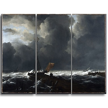 Designart Jacob van Ruisdael, Rough Sea at a Jetty Sea & Shore Canvas Artwork, (PT4531-3P)