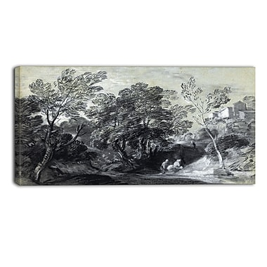 Designart Thomas Gainsborouh, Wooded Landscape with Figures Canvas Art Print, (PT4947-40-20)