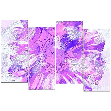 Design Art – Fleur violette, impression sur toile 4 panneaux