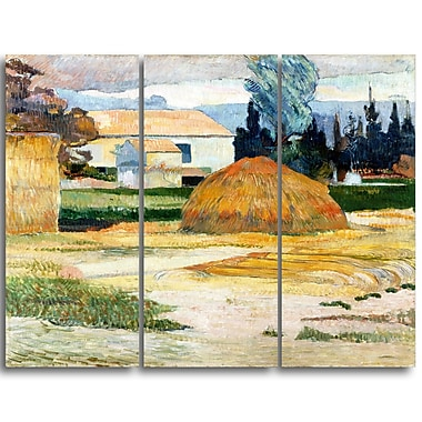 Designart Paul Gauguin, Landscape near Arles Canvas Art Print, 3 Panels, (PT4409-3P)