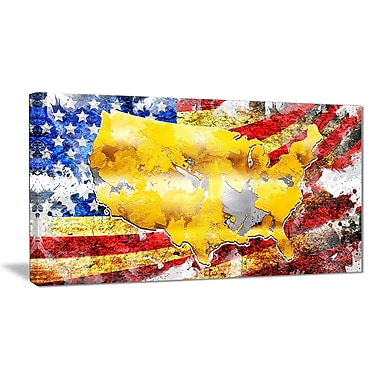 Designart USA Map on Flag Canvas Art Print- 32