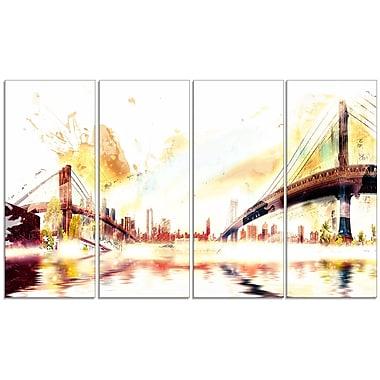 Designart – Impression sur toile, paysage urbain avec ponts dorés, 4 panneaux (PT3306-271)