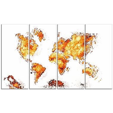 Designart Orange Map Canvas Art Print, (PT2708-4-271)