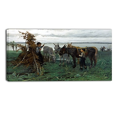 Designart Willem Maris, Boys Herding Donkeys Canvas Art Print, (PT4996-32-16)
