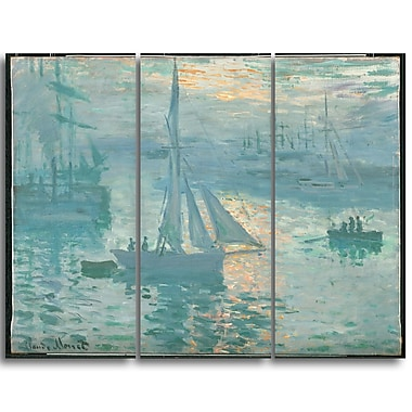 Designart Claude Monet, French Sunrise Canvas Art Print, (PT4266-3P)