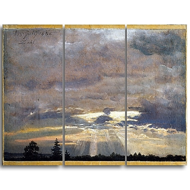 Designart JC Dahl, Cloud Study with Sunbeams Canvas Art Print, (PT4574-3P)