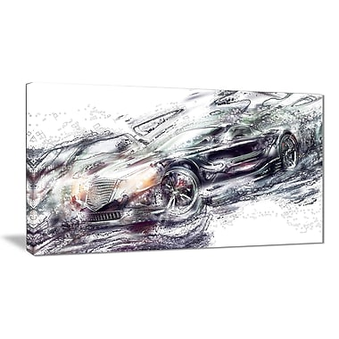 Designart Abstract Black Super Car Small Gallery Wrapped Canvas, (PT2602-32-16)