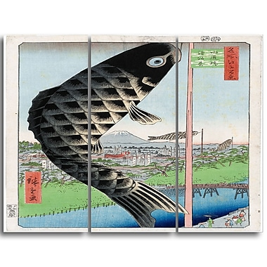 Designart Utagawa Hiroshige, Suido Bridge Large Asian Canvas Art, (PT4982-3P)