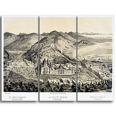 Designart – Tableau paysage imprimé sur toile, La Villa de Guadalupe de Castro Casimiro (PT4214-3P)