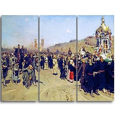 Designart Ilya Repin, Religious Procession in Kursk Gubernia Lansdcape Artwork, (PT4508-3P)