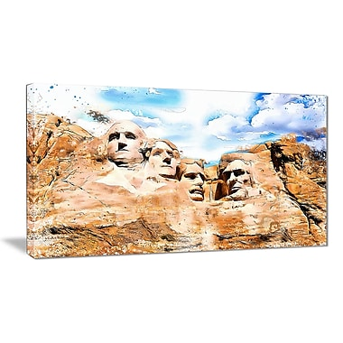 Designart Mount Rushmore Large Americana Canvas Art Print, (PT2809-32-16)