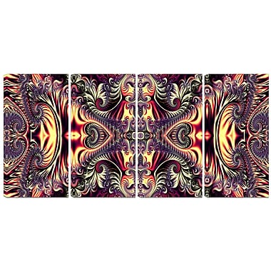 Designart Brassy Abstract Flow 4-Panel Canvas Art Print, (PT3086-271)