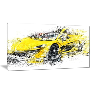 Designart Yellow Exotic Car Gallery-Wrapped Canvas, (PT2631-32-16)