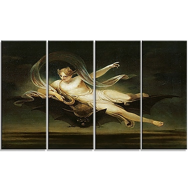 Designart Henry Singleton, Ariel on a Bats Back Religious Canvas Art Prints, (PT4498-271)