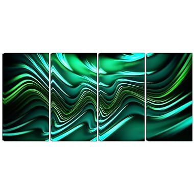 Designart Emerald Energy 4-Panel Abstract Canvas Art Print, (PT3020-271)