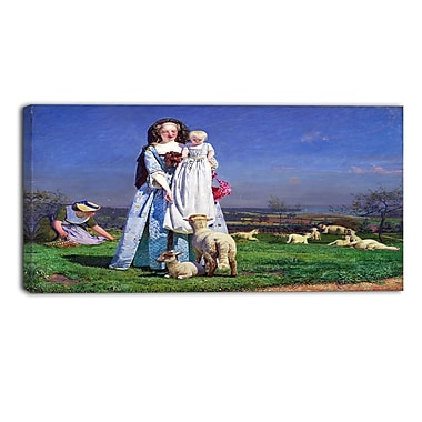 Designart Ford Madox Brown, Pretty Baa-Lambs Landscape Canvas Art Print, (PT4377-32-16)