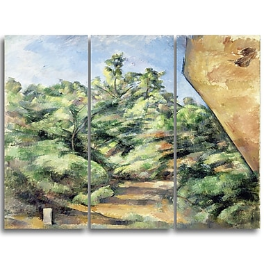 Designart Paul Cezanne, The Red Rock Canvas Art Print, 3 Panels, (PT4771-3P)