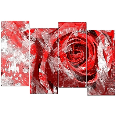 Designart Red Rose 4-Panel Canvas Art Print, (PT3423-2-271)