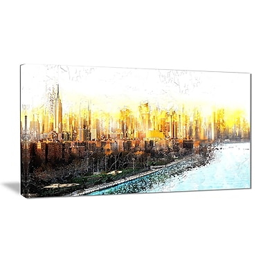 Designart New York Sunset Cityscape Large Canvas Artwork, (PT3313-32-16)