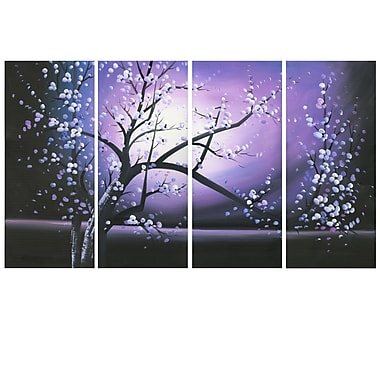 Designart Blossoming in the Moonlight, 4 Piece Wall Art Canvas, (PT271-PURPLE)