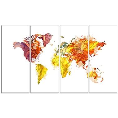 Designart – Carte du monde en couleurs chaudes, imprimé sur toile (PT2720-271)