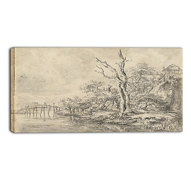Designart Jacob van Ruisdael, Dead Tree by a Stream Canvas Art Print, (PT4527-32-16)
