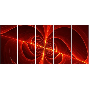Designart Red Laser 5-Panel Modern Canvas Art Print, (PT3036-401)