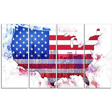 Designart American City Map Art Canvas Art, (PT2829-271)