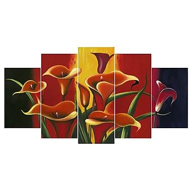 Designart – Art imprimé sur toile, lis rouges, 5 panneaux, (PT315-373)