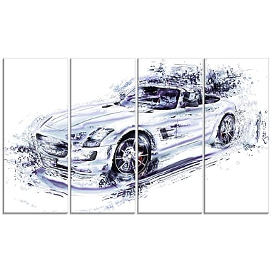 Designart White Convertible Car Large Gallery Wrapped Canvas, (PT2611-271)