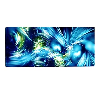 Designart Green and Blue Shine Contemporary Canvas Art Print, (PT3062-32-16)