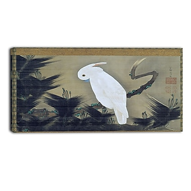 Designart Ito Jakuchu, White Cockatoo on a Pine Branch Animal Canvas Art, (PT4516-40-20)
