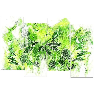 Designart Electric Green Flowers 4-Panel Canvas Art Print, (PT3410-2-271)