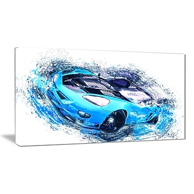 Designart Sky Blue and Black Sports Car Canvas Art Print, (PT2640-32-16)
