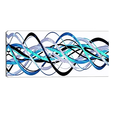 Designart Blue and Silver Helix Modern Canvas Art Print, (PT3046-32-16)