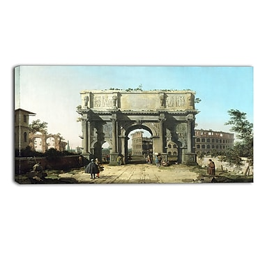 Designart Canaletto, View of the Arch of Constantine Landscape Canvas Arwork, (PT4198-40-20)
